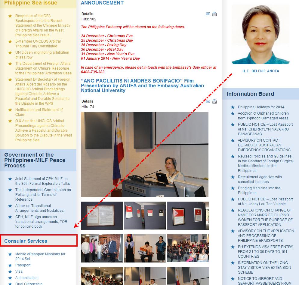 菲律賓駐澳洲領事館官網首頁