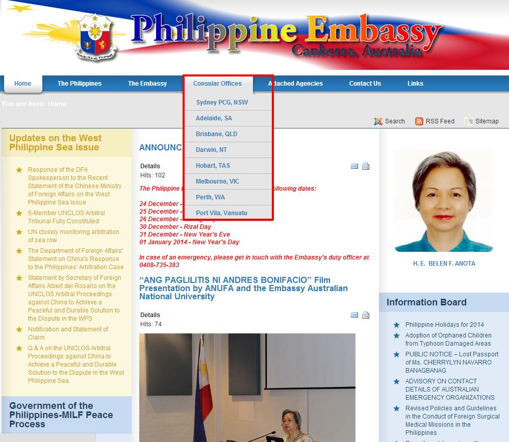 至當地菲律賓駐澳洲領事館辦理